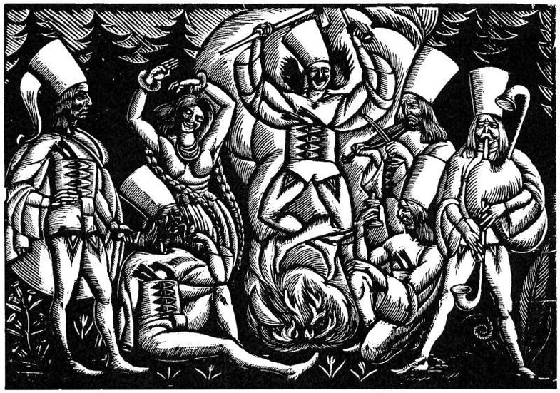 ancing over fire, wood engraving, Muzeum Żup Krakowskich w Wieliczce