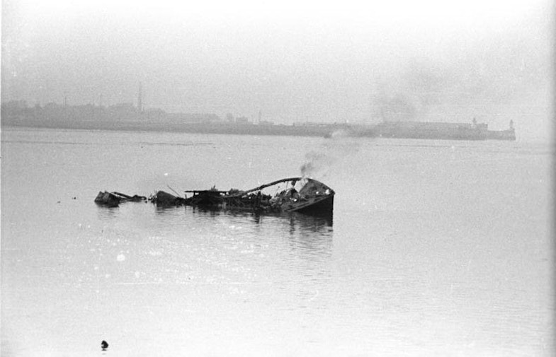 The remains of an unidentified Motor Launch, 28 March 1942