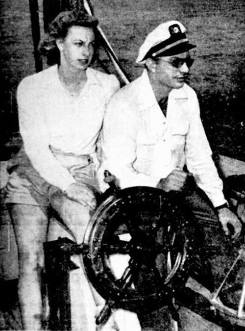 Ron and Sara Hubbard aboard the schooner Blue Water II, Miami, June 1946