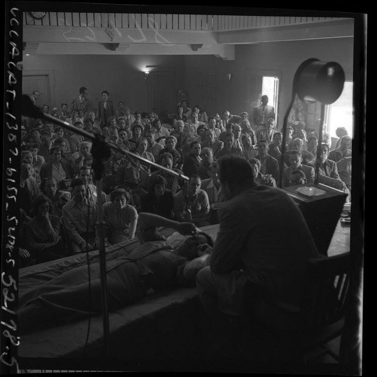 L. Ron Hubbard conducting Dianetics seminar in Los Angeles, Calif., 1950