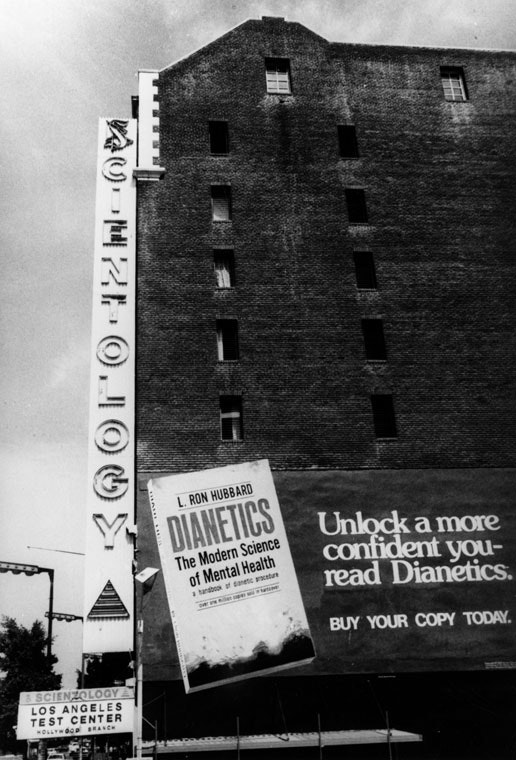 The Scientology building in Hollywood, with an advertisement for Dianetics