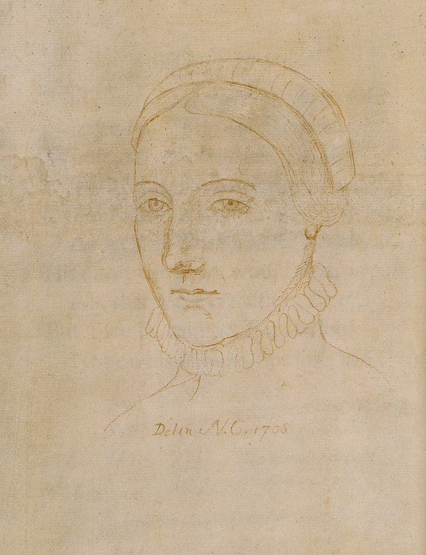 The only surviving image that may depict Anne Hathaway (1555/56 - 6 August 1623), the wife of William Shakespeare, is a portrait line-drawing made by Sir Nathaniel Curzon in 1708, referred to as Shakespear's Consort