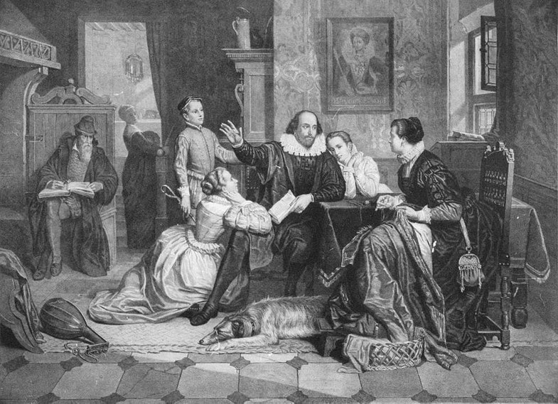 William Shakespeare reciting his play Hamlet to his family. His wife, Anne Hathaway, is sitting in the chair on the right; his son Hamnet is behind him on the left; his two daughters Susanna and Judith are on the right and left of him