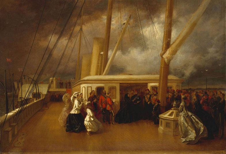 The ceremony took place on board the Royal Yacht Victoria and Albert during the naval review, held in appalling weather, in honour of the Sultan Abd-ul-Aziz who had succeeded his brother Abd-ul-Mejid as Sultan in 1861