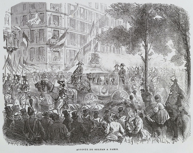 The Turkish Sultan arriving at the Paris World Fair, in 1867