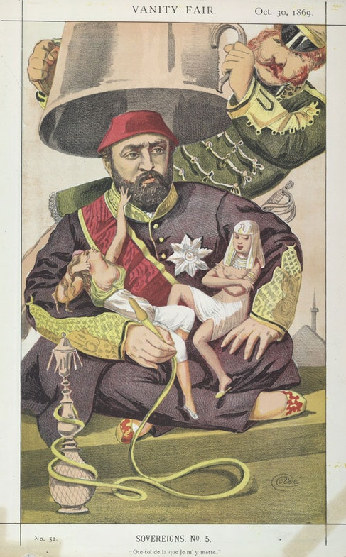 Sovereigns No.5: Caricature of Sultan Abdul Aziz of Turkey. Caption reads