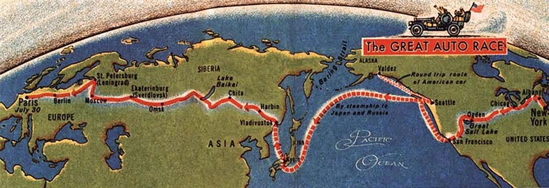new york paris race 1908 map