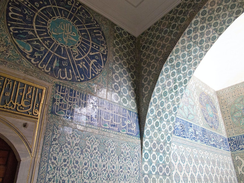Iznik tile work in the Harem of Topkapi Palace