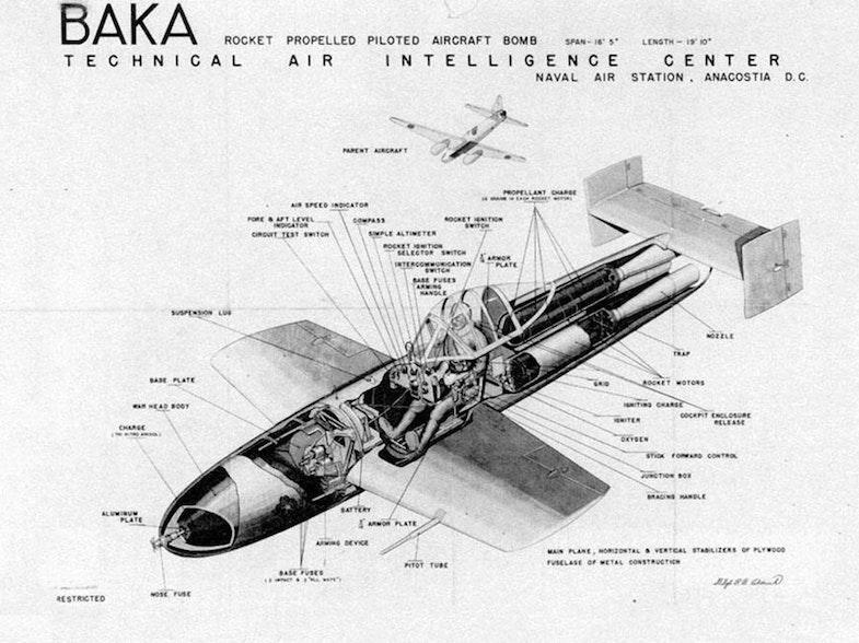 Drawing of a Japanese Yokosuka MXY7 Ohka rocket powered human-guided anti-shipping kamikaze attack plane