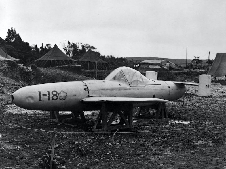 A Japanese MXY-7 Model 11 Okha suicide plane captured on 1 April 1945 at Yontan airfield, Okinawa