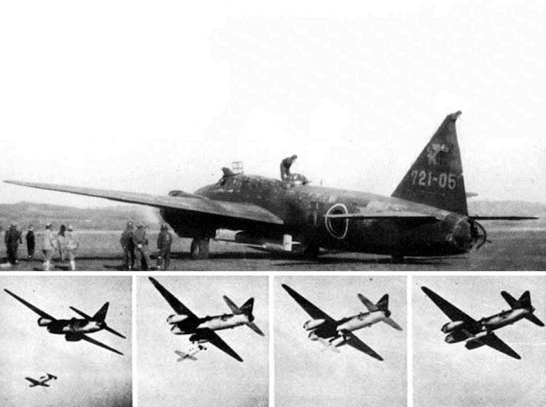 Japanese Navy Mitsubishi G4M2e Model 24 Tei bomber used to launch a Yokosuka MXY-7 Ohka Kamikaze rocket powered anti-ship aircraft