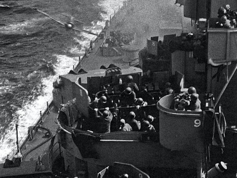 Kamikaze attack on the USS Missouri (BB-63)