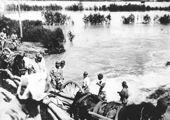 Japanese troops flooded area 1938