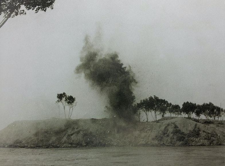 Japanese artillery bombarding banks of Yellow River