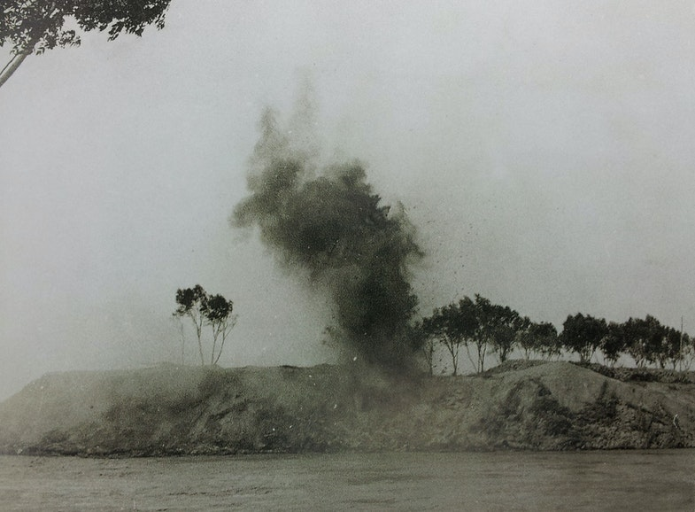 Japanese artillery bombarding banks of Yellow River