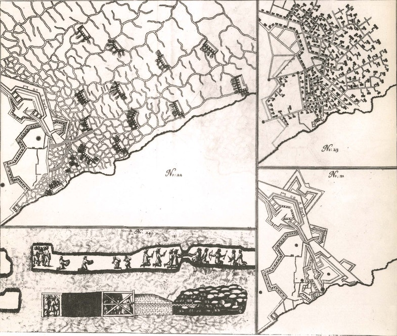 Some illustrations of the Siege of Candia. The detail pictures show the Sant' Andrea and Panigra Bastions of the fortress: No. 22, upper left: Turkish batteries and approaches (the grid-like lines are trenches) No. 23, upper right: Plan of defenders countermines No. 23, lower left: Underground combat, note the stock of gunpowder charges in the lower right corner which will blow up the mine No 21, lower right: Plan of the bastions