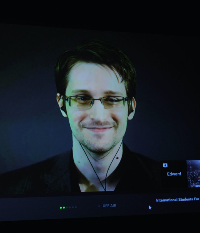 Edward Snowden speaking at the 2015 International Students for Liberty Conference