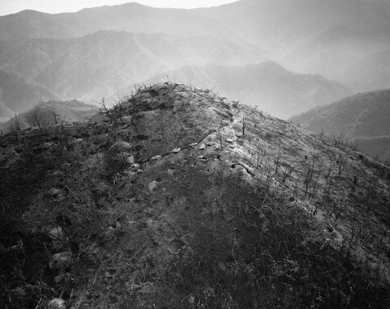 Trees stripped by artillery and aerial bombardment stand like match sticks in this air view of hill 931 on Oct. 22, 1950, one of the main peaks which dominated Heartbreak Ridge in Korea. The complex system of communist trenches and bunkers are visible. This hill was taken twice by U.N. forces, the last time on October 6 by elements of the 23rd U.S. Regiment and a French Battalion