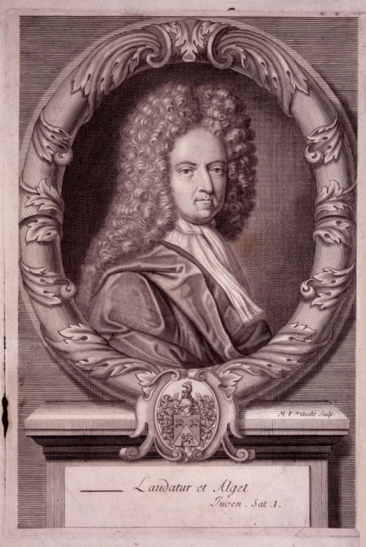 Daniel Defoe by Michael Vandergucht, after Jeremiah Taverner line engraving, 1706