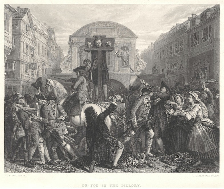 Daniel Defoe in the pillory, 1862 line engraving by James Charles Armytage after Eyre Crowe