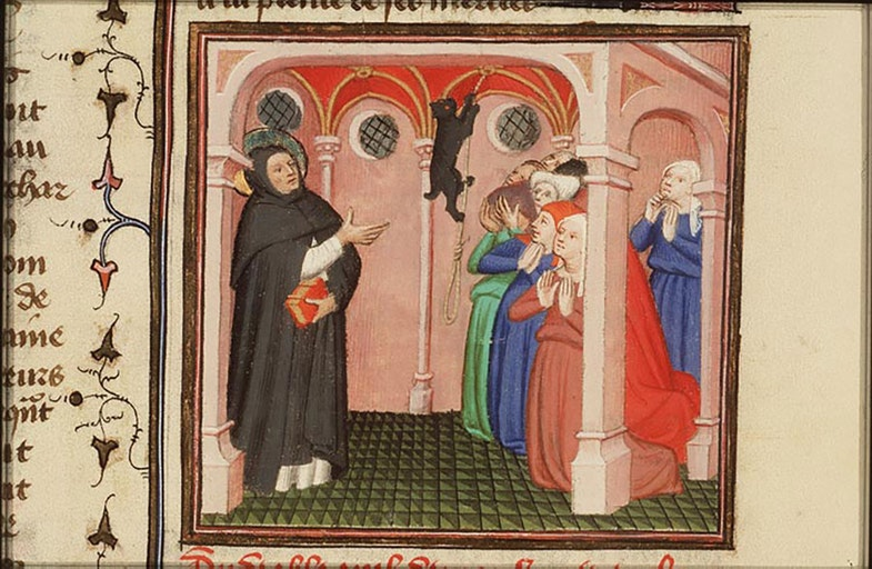 The devil appears in the form of a cat to St. Dominic of Calerueja
