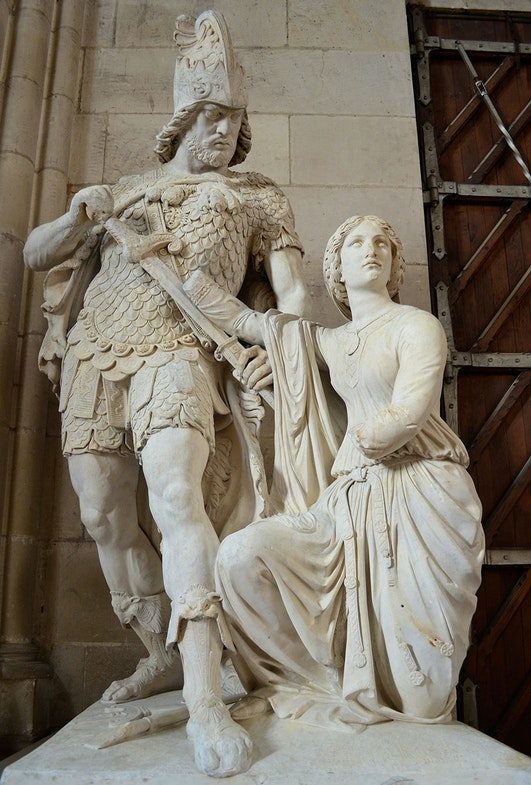 Praying Sainte Genevieve disarm Attila - Scuplture by Etienne-Hippolyte Maindron (1857), exhibited in Notre-Dame church, Cholet, France