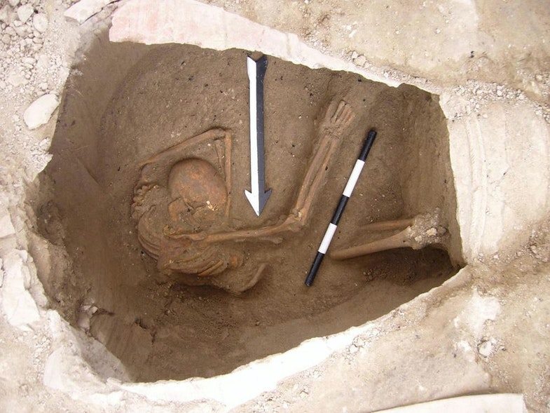 A burial jar containing the remains of an ancient inhabitant of the Canaanite city of Sidon. This individual was one of five whose DNA was sequenced to reveal the ancestry of the Canaanites