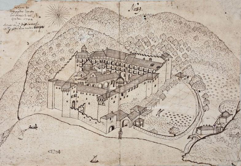 Mandry of Vasily Grigorovich-Barsky. Monastery of Esfigmen. Travel pictures. Copies