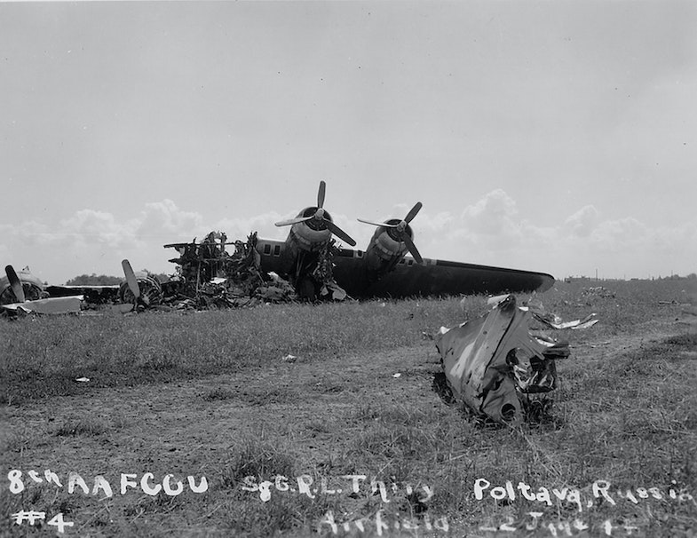 The wreckage of an American B-17 bomber destroyed by german bombardment