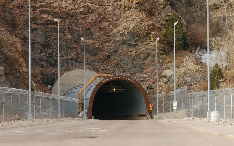 Photo of the North Portal entrance to Cheyenne Mountain