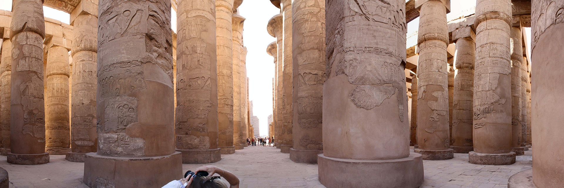 A panorama of the great hypostyle hall at Karnak