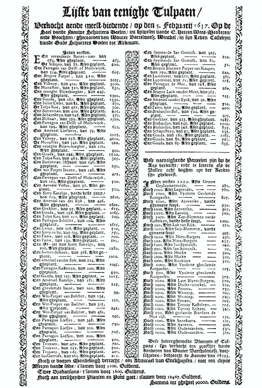 A list of prices for the tulip bubls sold at an auction at Alkmaar, 5 Februar 1637