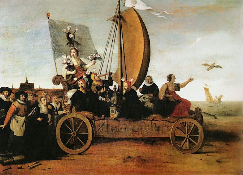 Allegory of the Tulip Mania. The goddess of flowers is riding along with three drinking and money weighing men and two women on a car. Weavers from Haarlem have thrown away their equipment and are following the car. The destiny of the car is shown in the background: it will disappear in the sea