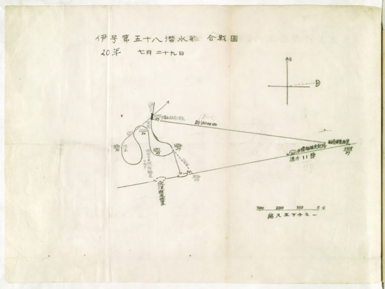 Battle diagram of I-58 Submarine 20th Year (Showa) July 29th The diagram has magnetic north, and then depicts the location of the moon to the east. The scale in the corner is in meters (says the scale is 50,000 to 1). The submarine appears to be heading 190 at time 2305 on the 29th when it views the ship at approx 10,000 meters off its starboard side. Apparent course and speed of the target is 260 at 11 knots. The submarine maneuvers into position 1500m off the starboard beam where it takes 6 shots at time 2332. The dotted line is the apparent location of where the ship was sunk. The submarine performed a starboard, then port, then starboard turn before settling out on course 045 at approximately 0030 on the 30th