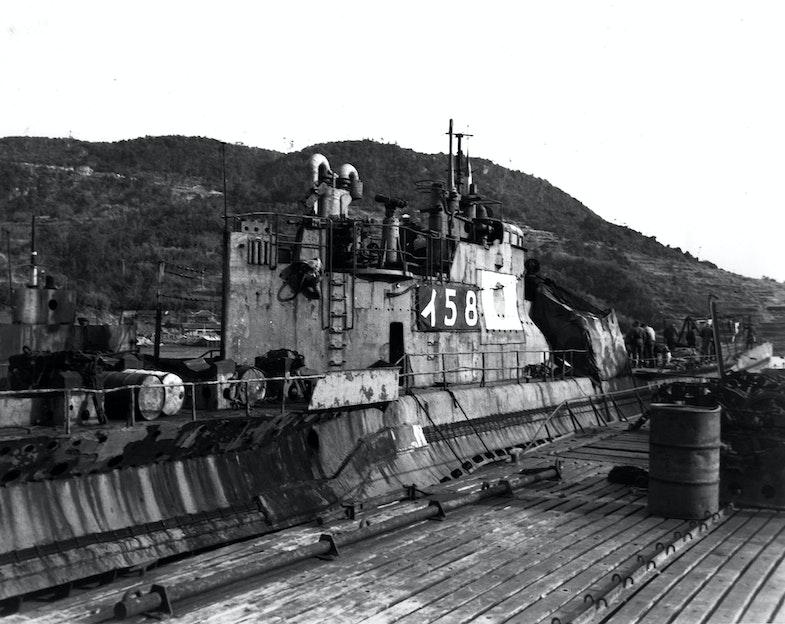 At Sasebo, Japan, 28 January 1946. This submarine torpedoed and sank USS Indianapolis (CA-35) on 30 July 1945