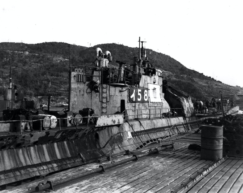 At Sasebo, Japan, 28 January 1946. This submarine torpedoed and sank USS Indianapolis (CA-35) on 30 July 1945