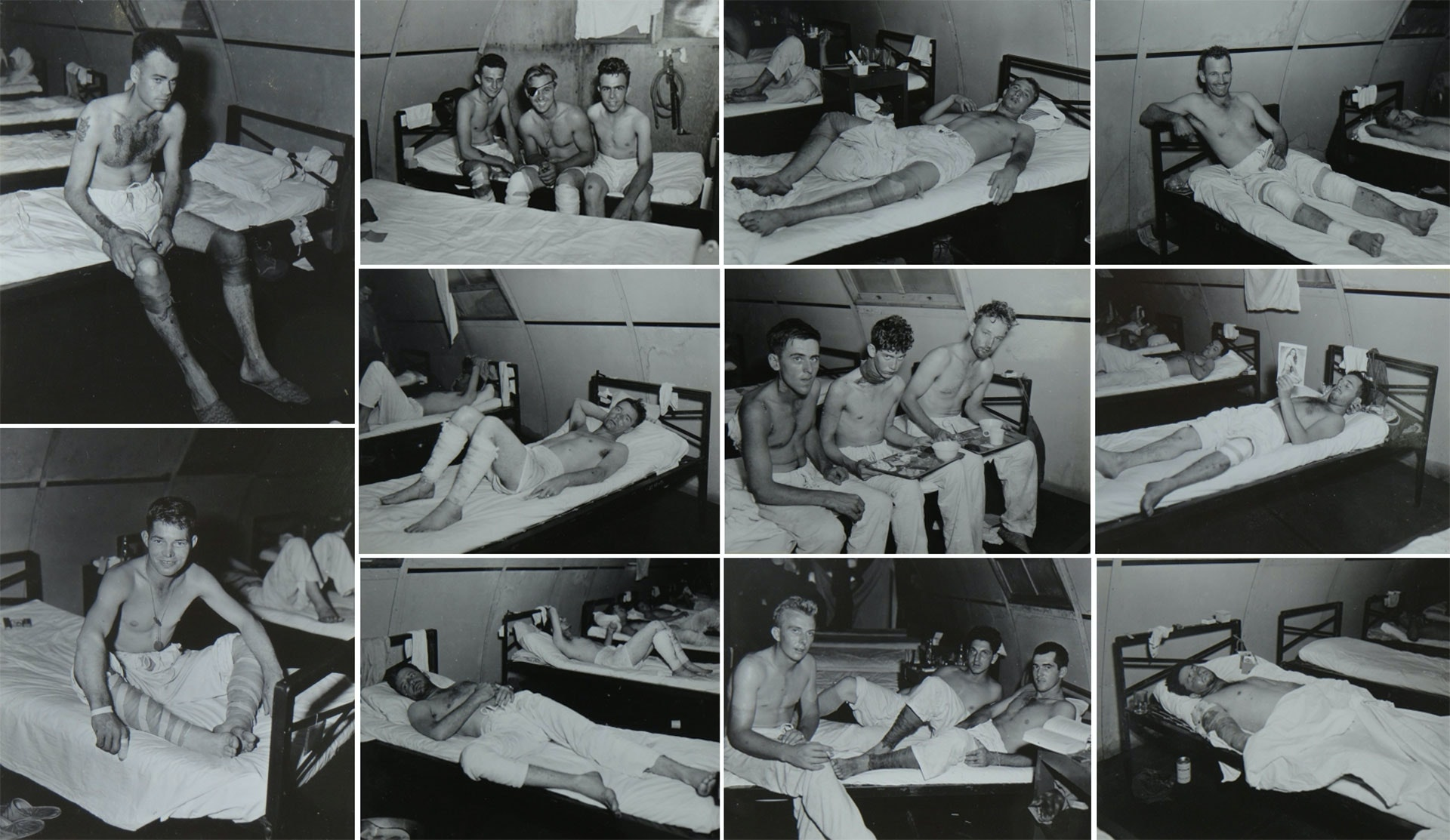 Survivors of the USS Indianapolis Naval Base Hospital No. 20, Peleliu, 5 August 1945