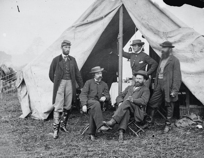 Antietam, Md. Seated: R. William Moore and Allan Pinkerton. Standing: George H. Bangs, John C. Babcock, and Augustus K. Littlefield