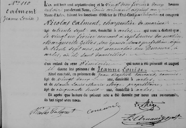 Jeanne Calment's birth certificate