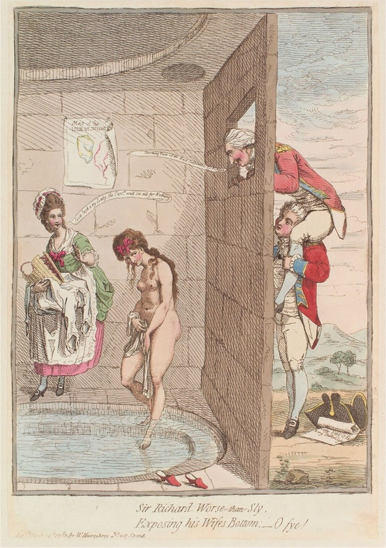 Sir Richard Worse-than-sly, exposing his wife's bottom; - o fye! by James Gillray, published by William Humphrey