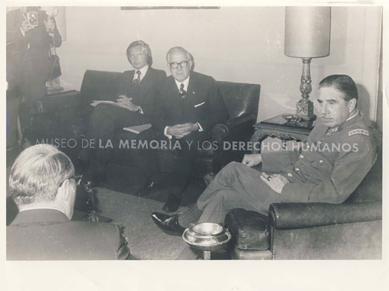 General Augusto Pinochet in meeting with Roberto Kozak of the Intergovernmental Committee on European Migration (CIME) and the Intergovernmental Organization for Migration (IOM)