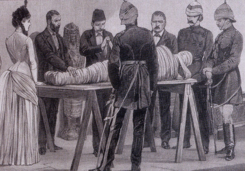 Gaston Maspero working on a mummy in Cairo