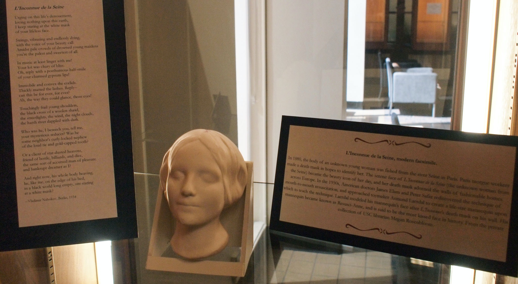 A History of Resuscitation exhibition at USC Norris Medical Library L'Inconnue de la Seine, modern facsimile