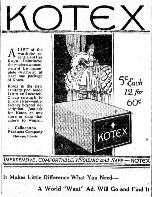 A Kotex newspaper advertisement from 1920.