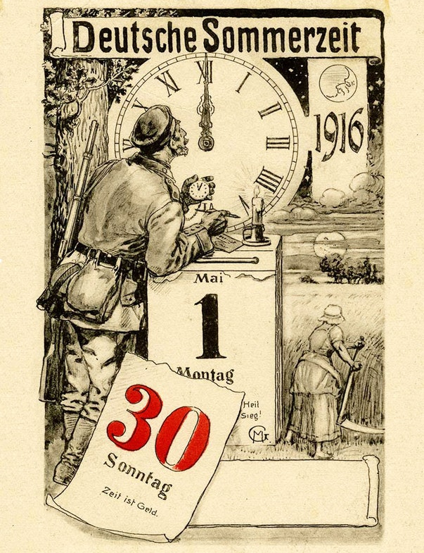 Postcard for the introduction of summer time in Germany on April 30, 1916