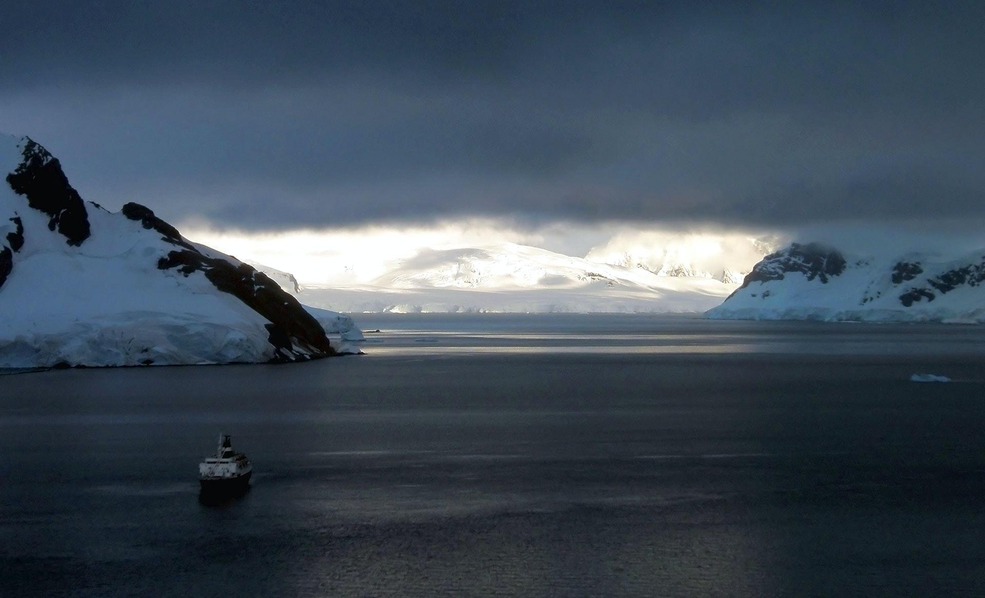 Lyubov Orlova sitting in Paradise Bay, Antarctic Penninsula.
