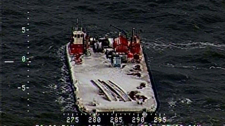 Image of the drifting barge taken last fall before freeze-up
