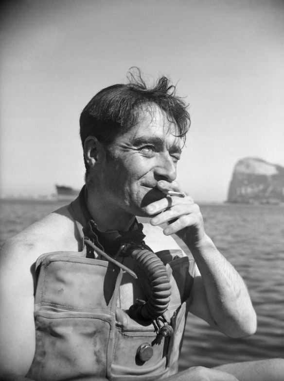 Lieutenant Lionel 'Buster' Crabbe, in diving apparatus at Gibraltar, April 1944