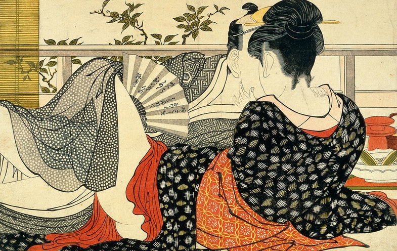 Lovers in the upstairs room of a teahouse, from Utamakura (Poem of the Pillow), ca. 1788