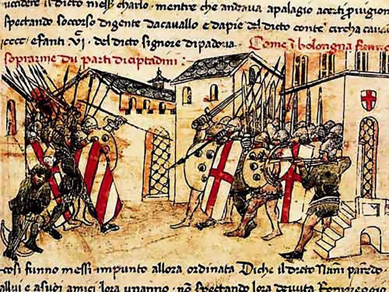 Depiction of a 14th C. fight (1369?) between the militias of the Guelf and Ghibelline factions in the Italian commune of Bologna, from the Croniche of Giovanni Sercambi of Lucca